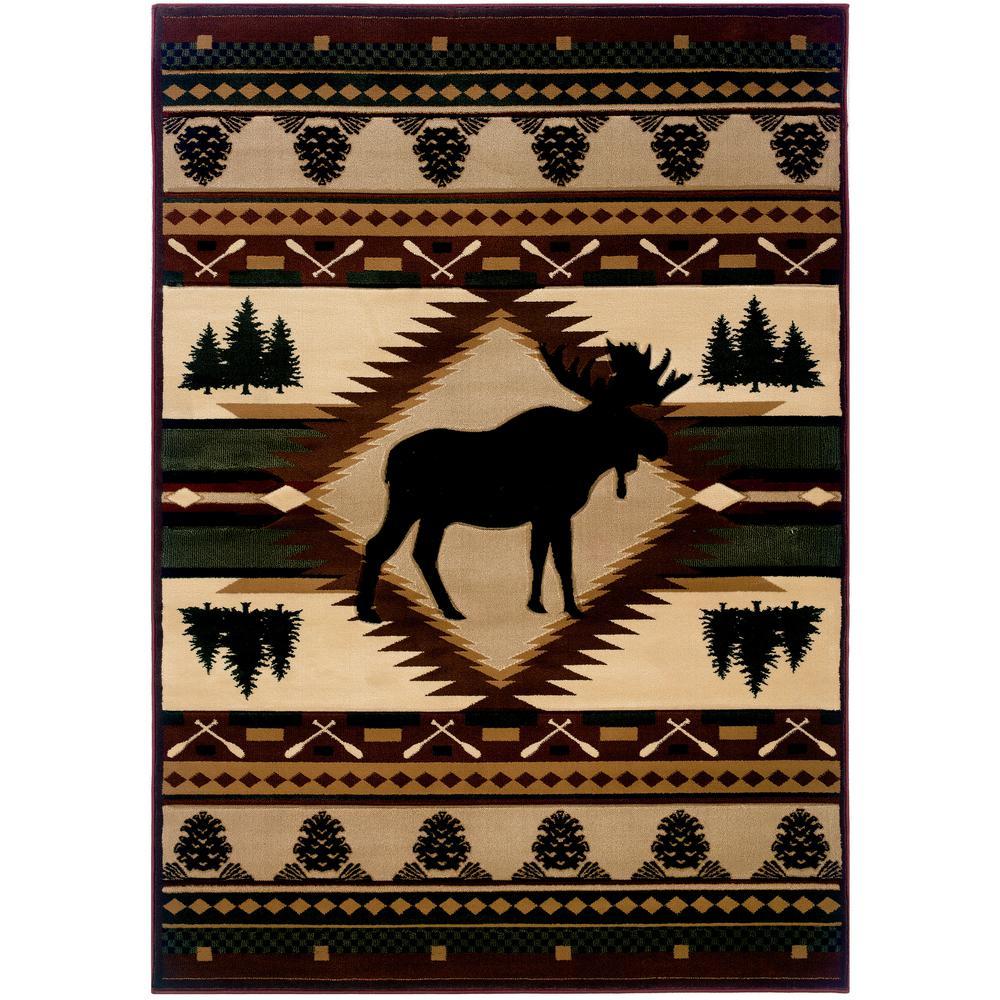 Designer Contours John Q. Moose Wilderness Toffee 3 ft. x 7 ft. Area Rug