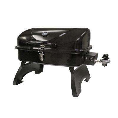 Tabletop Portable Gas Grill in Black with Folding Legs