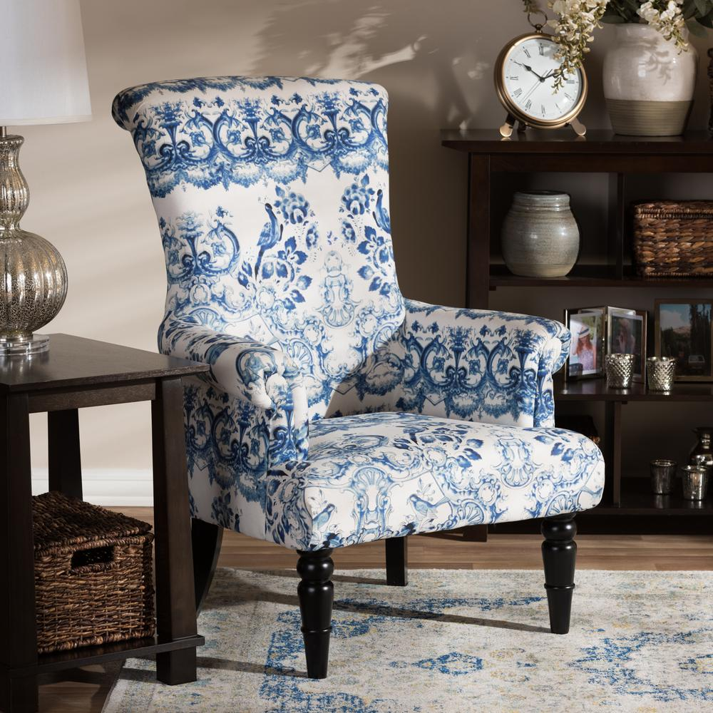 Baxton Studio Darlington Blue Print Fabric Upholstered Chair