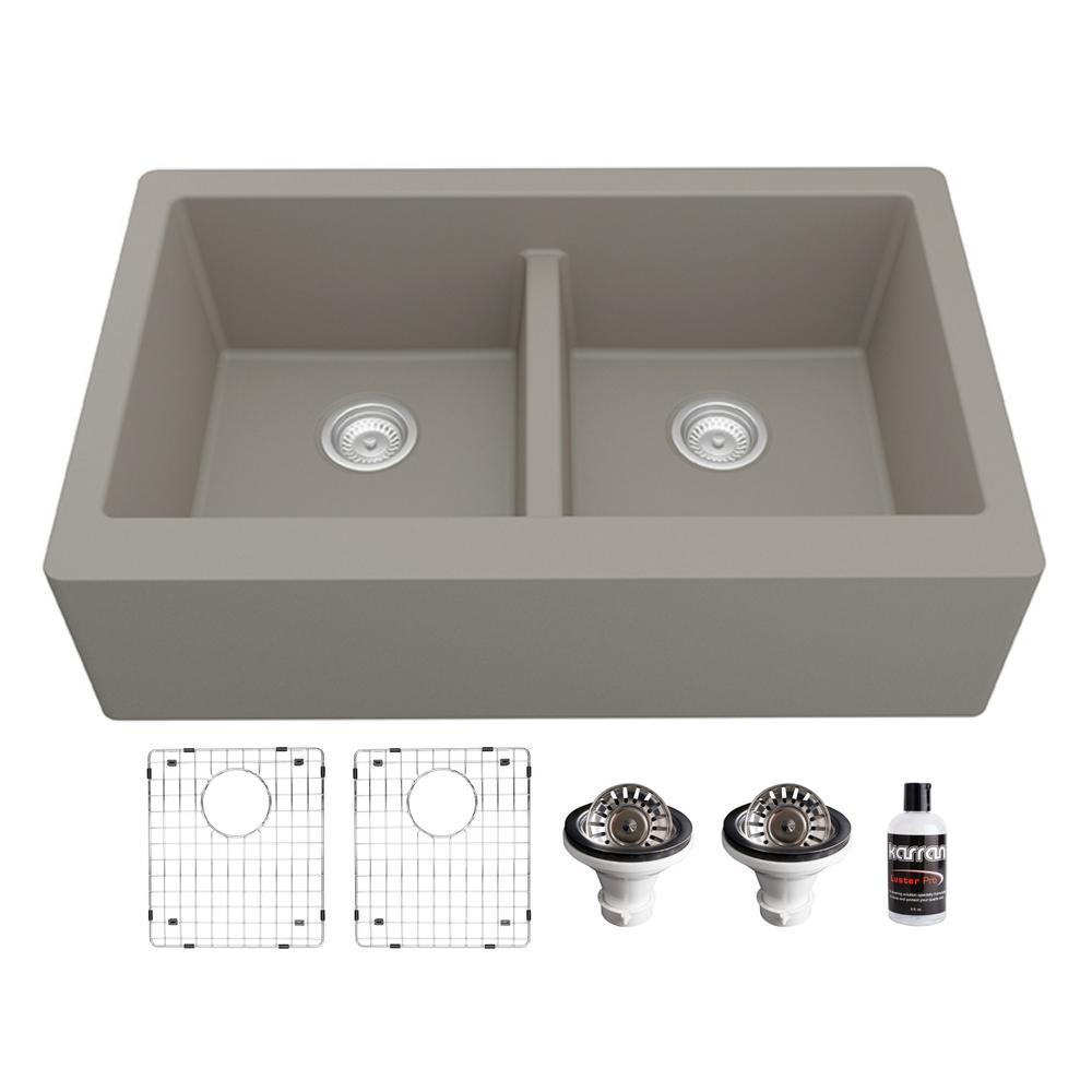 Quartz Composite 34 in. Double Bowl Farmhouse/Apron-Front Kitchen Sink Kit in Concrete