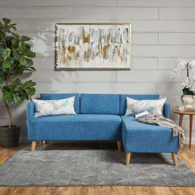 2-Piece Muted Blue Fabric Sectional
