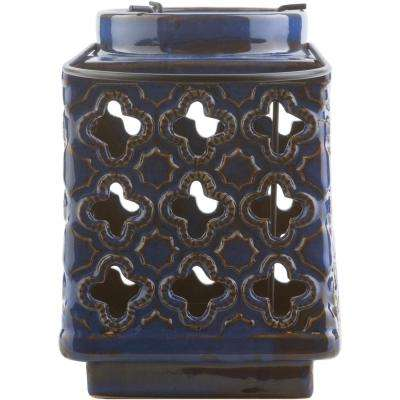 Obadiah 7.5 in. Navy Ceramic Lantern