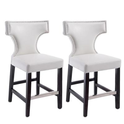 Kings 24.5 in. White Bonded Leather Bar Stool (Set of 2)