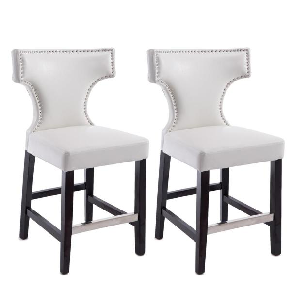CorLiving DAD-808-B Kings Counter Height Bar Stool Chair in Black with Metal Studs 24 Seat Height Set of 2