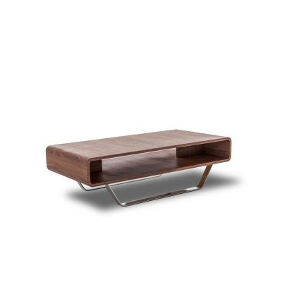 Rectagular Walnut Coffee Table with Stainless Steel Legs