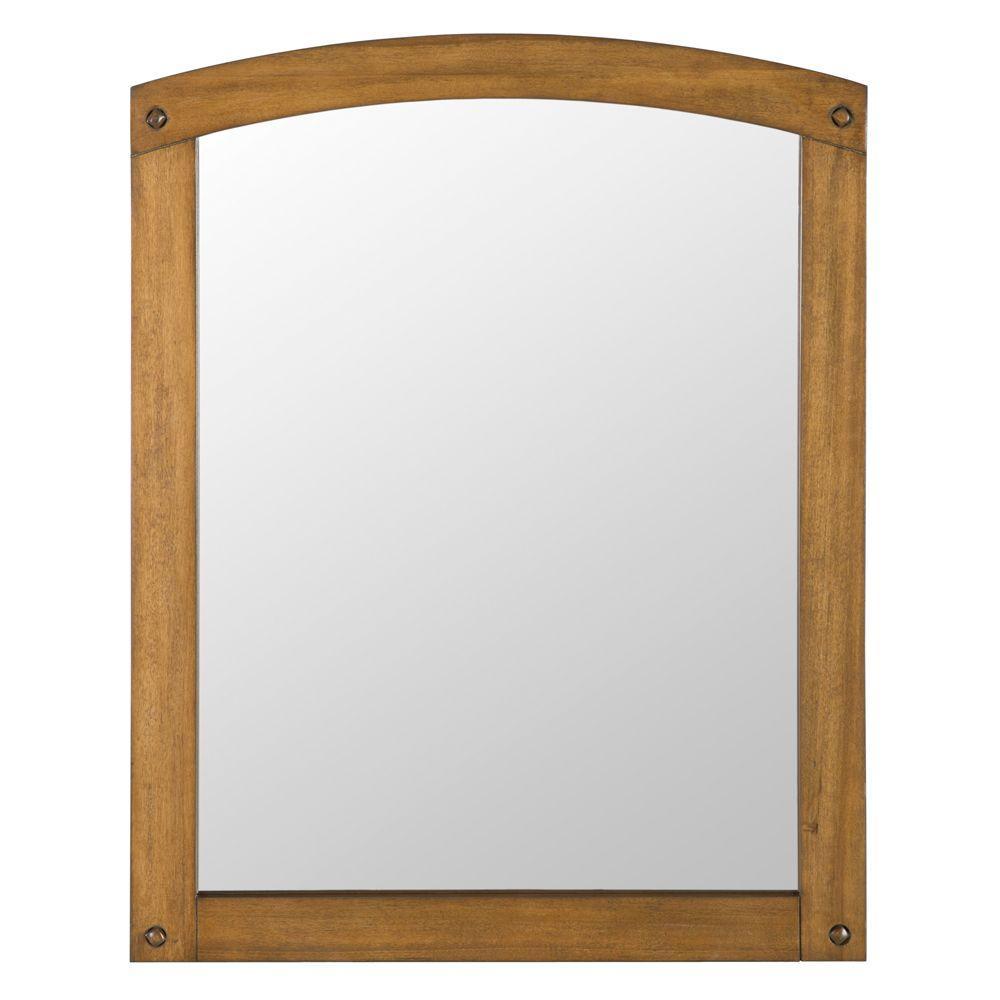 24 in. W x 31 in. H Framed Rectangular  Bathroom Vanity Mirror in Weathered Pine
