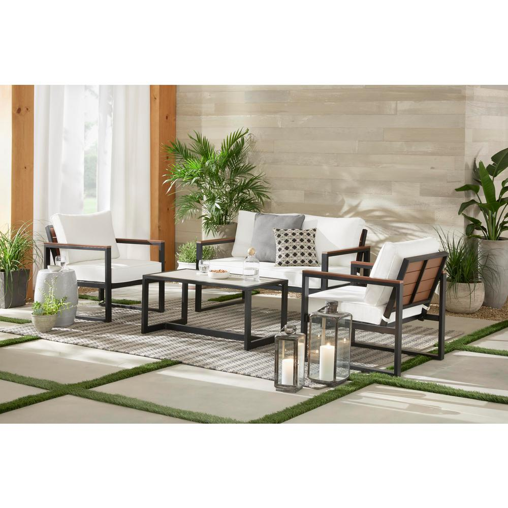 Hampton Bay West Park 4 Piece Aluminum Patio Conversation Set With Cushionguard White Cushions
