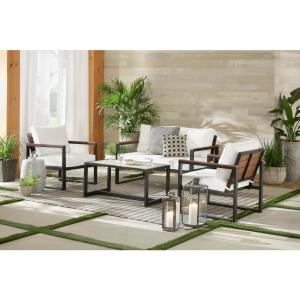 West Park 4-Piece Aluminum Patio Conversation Set with CushionGuard White Cushions