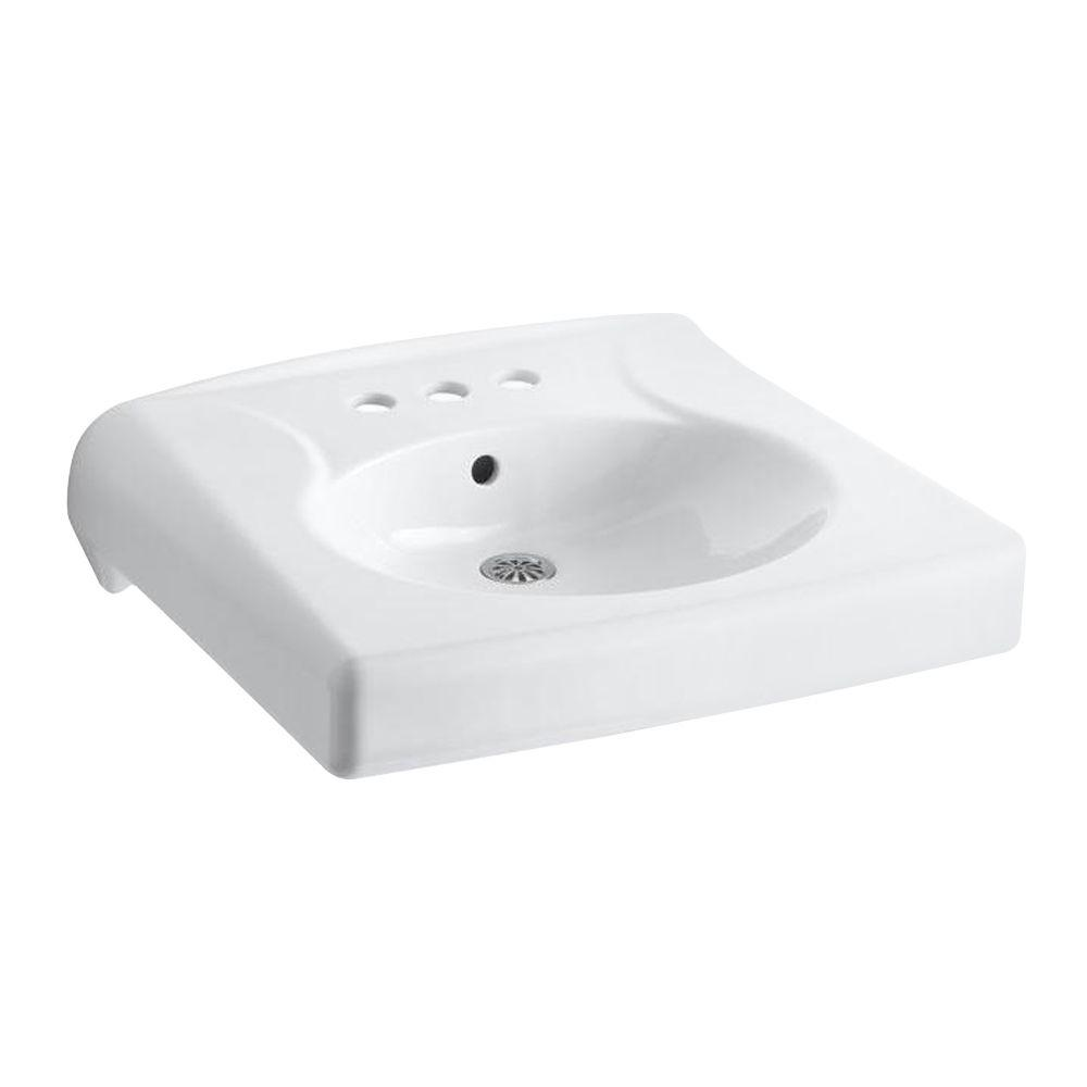 KOHLER Brenham Wall-Mounted Vitreous China Bathroom Sink in White with Overflow Drain