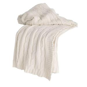 Cable Cream Throw Blanket