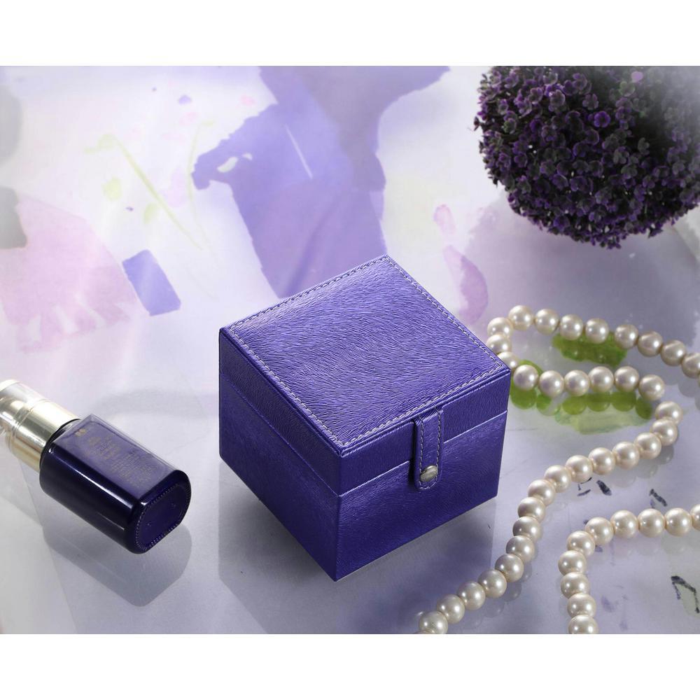 3.3 in. Azure Blue Mini Square Travel Jewelry Case