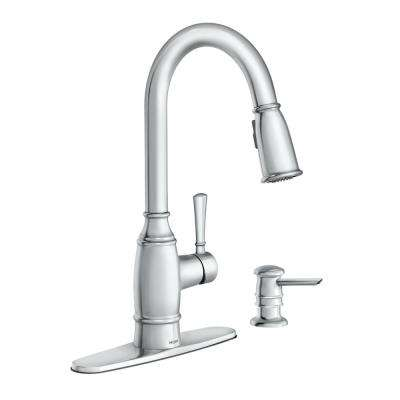 Noell Single-Handle Pull-Down Sprayer Kitchen Faucet with Reflex and Soap Dispenser in Chrome