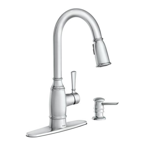 Noell Single-Handle Pull-Down Sprayer Kitchen Faucet with Reflex, Soap Dispenser and Power Clean in Chrome