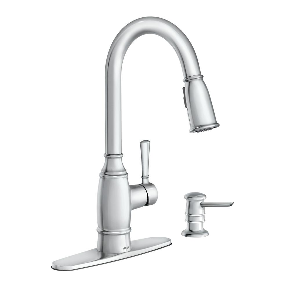 Moen Noell Single Handle Pull Down Sprayer Kitchen Faucet With Reflex Soap Dispenser And Power Clean In Chrome 87791 The Home Depot