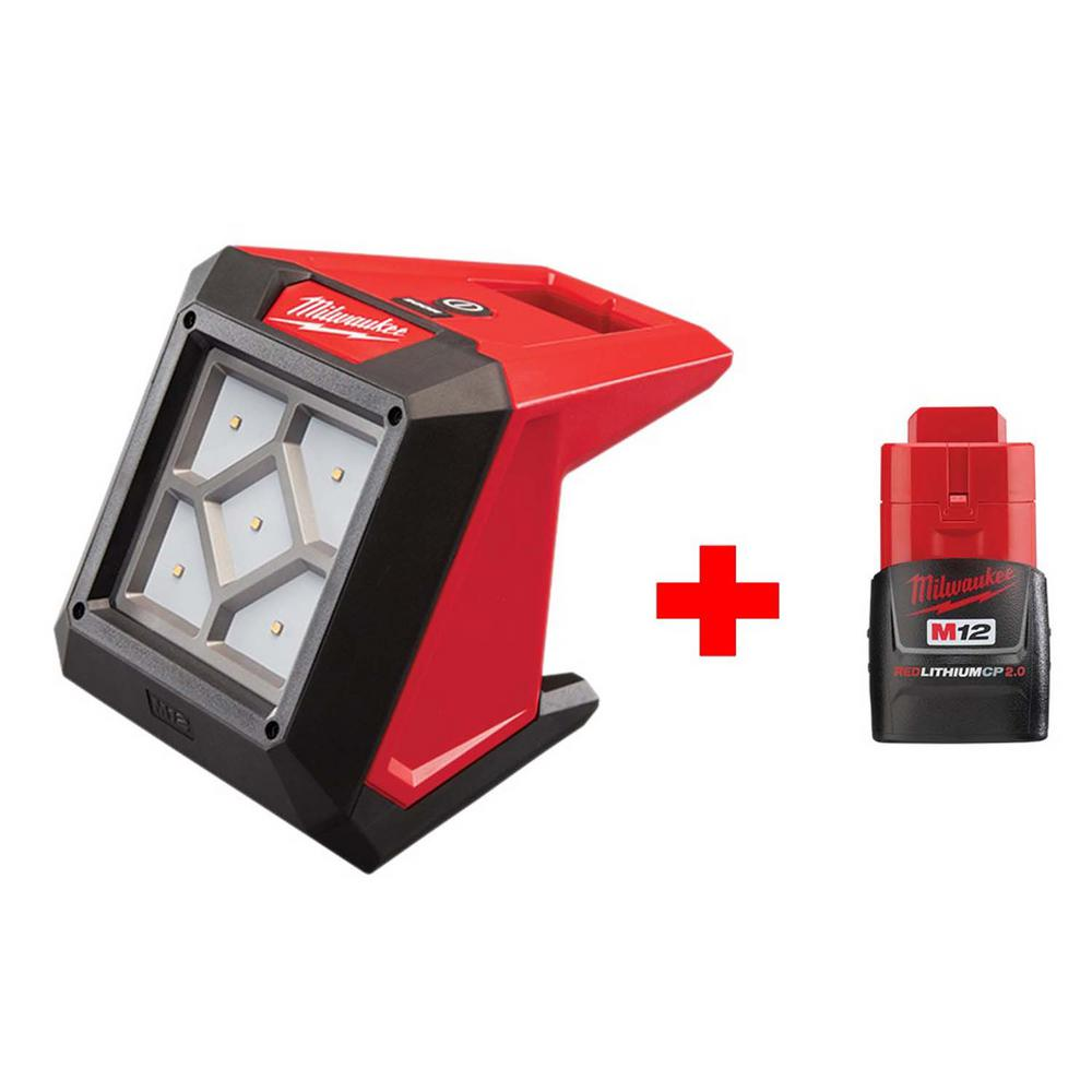 Milwaukee M12 12-Volt Lithium-Ion Cordless 1000-Lumen Rover LED Compact Flood Light with Free M12 2.0Ah Battery