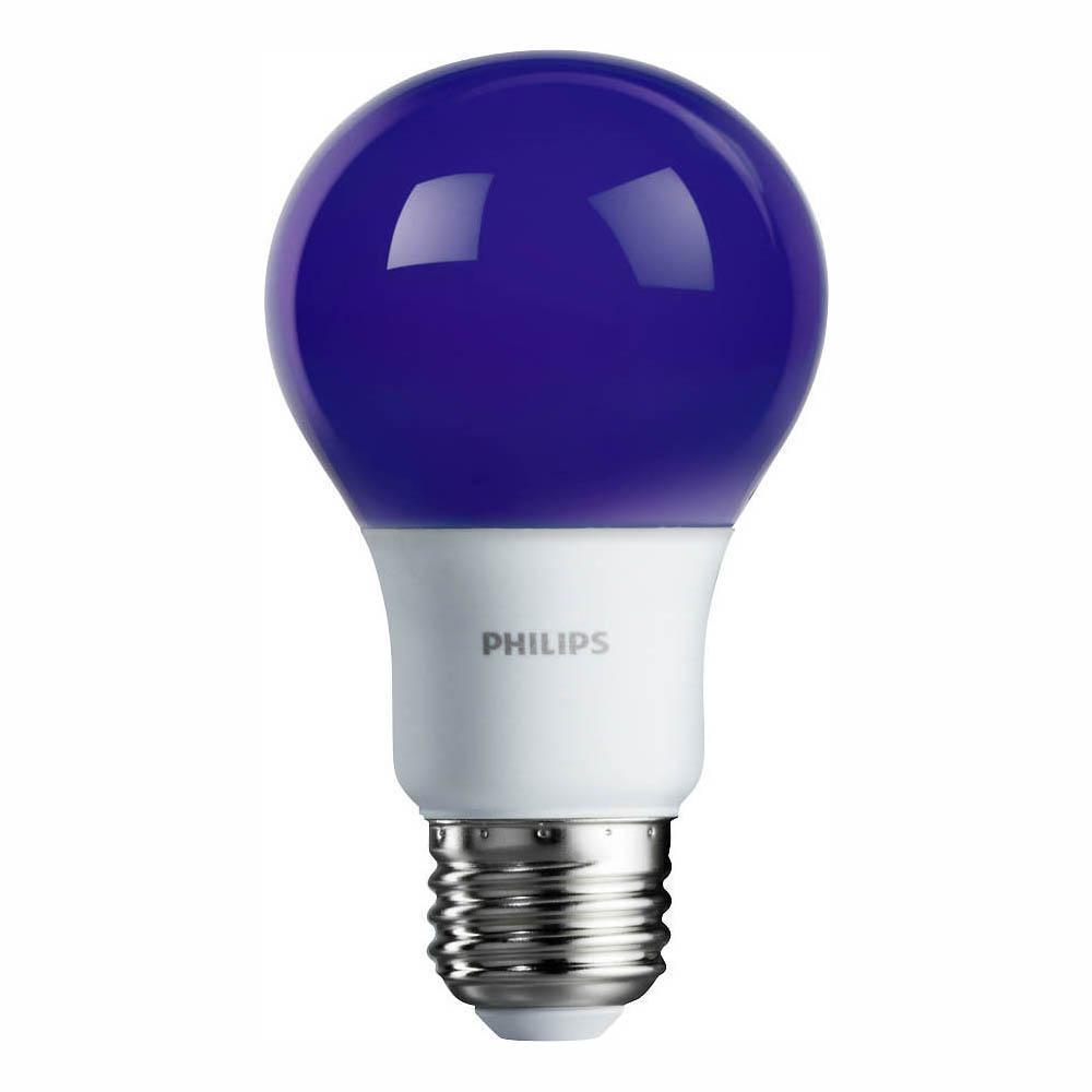 60-Watt Equivalent A19 Non-Dimmable Purple Colored LED Light Bulb