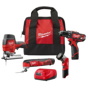 HomeDepot.com deals on Milwaukee M12 12-V Combo Tool Kit w/2 Batteries, Charger, Tool