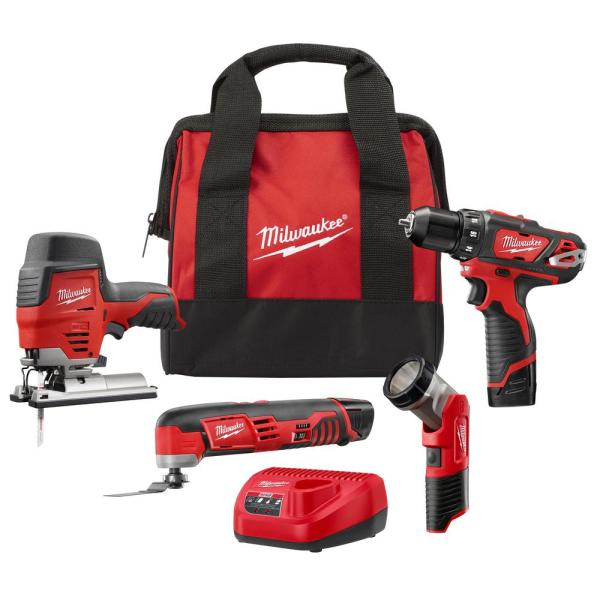 M12 12-Volt Lithium-Ion Cordless Combo Tool Kit (4-Tool) with Two 1.5 Ah Batteries, 1 Charger, 1 Tool Bag