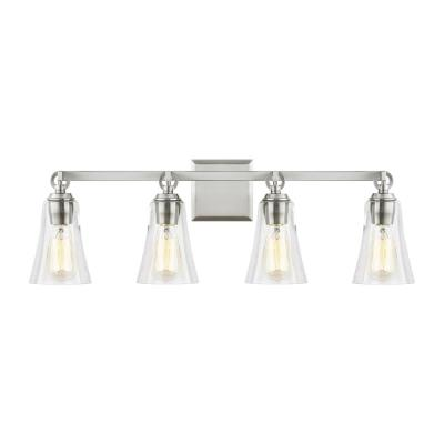 Monterro 30 in. W. 4-Light Satin Nickel Vanity Light with Clear Seeded Glass Shades