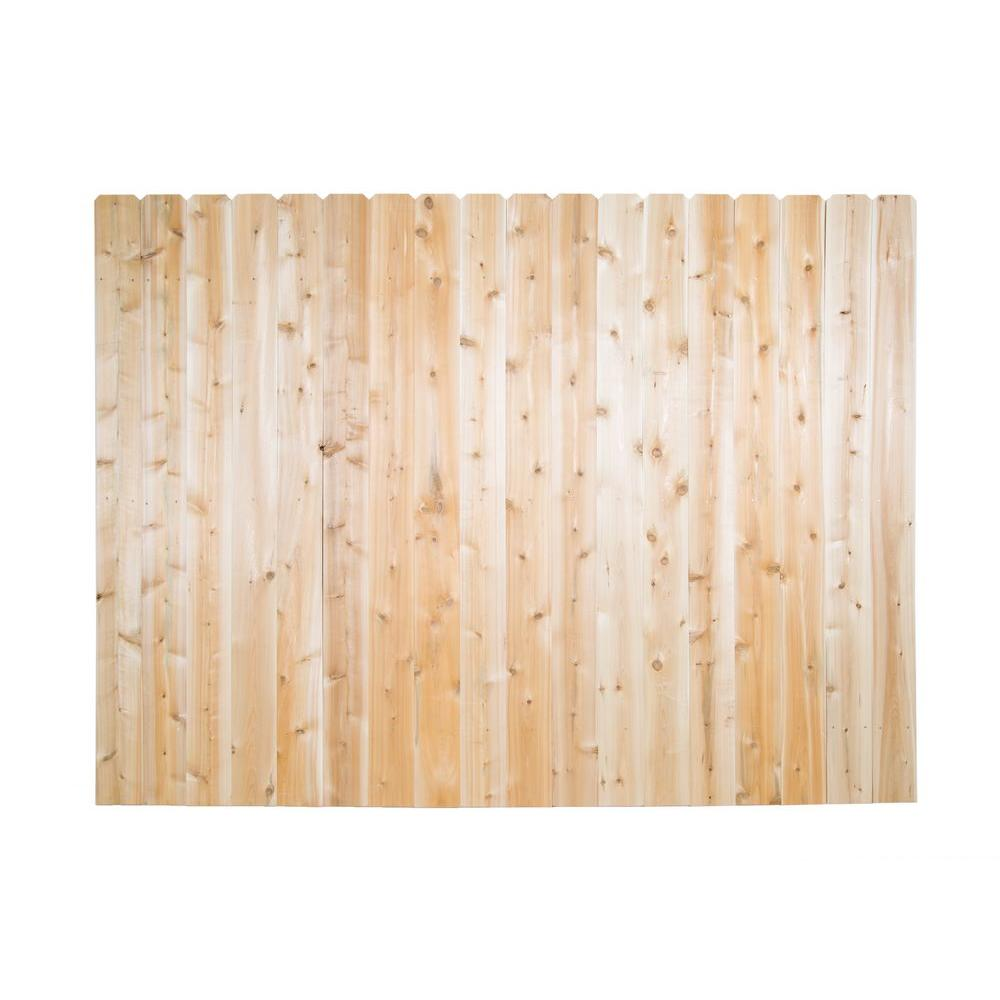 6 ft. H x 8 ft. W Eastern White Cedar Moulded Rail 6 in. Dog Ear Picket Privacy Fence Panel
