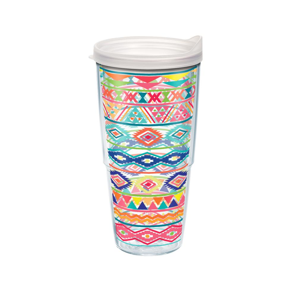 Tervis Bright Aztec Pattern 24 Oz Double Walled Insulated Tumbler With Travel Lid