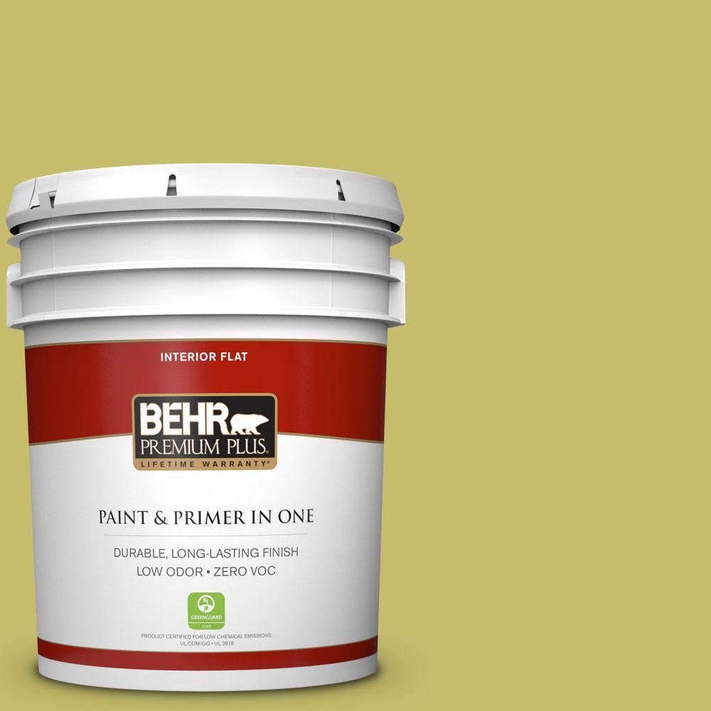 BEHR Premium Plus 5-gal. #P350-5 Go Go Lime Flat Interior Paint