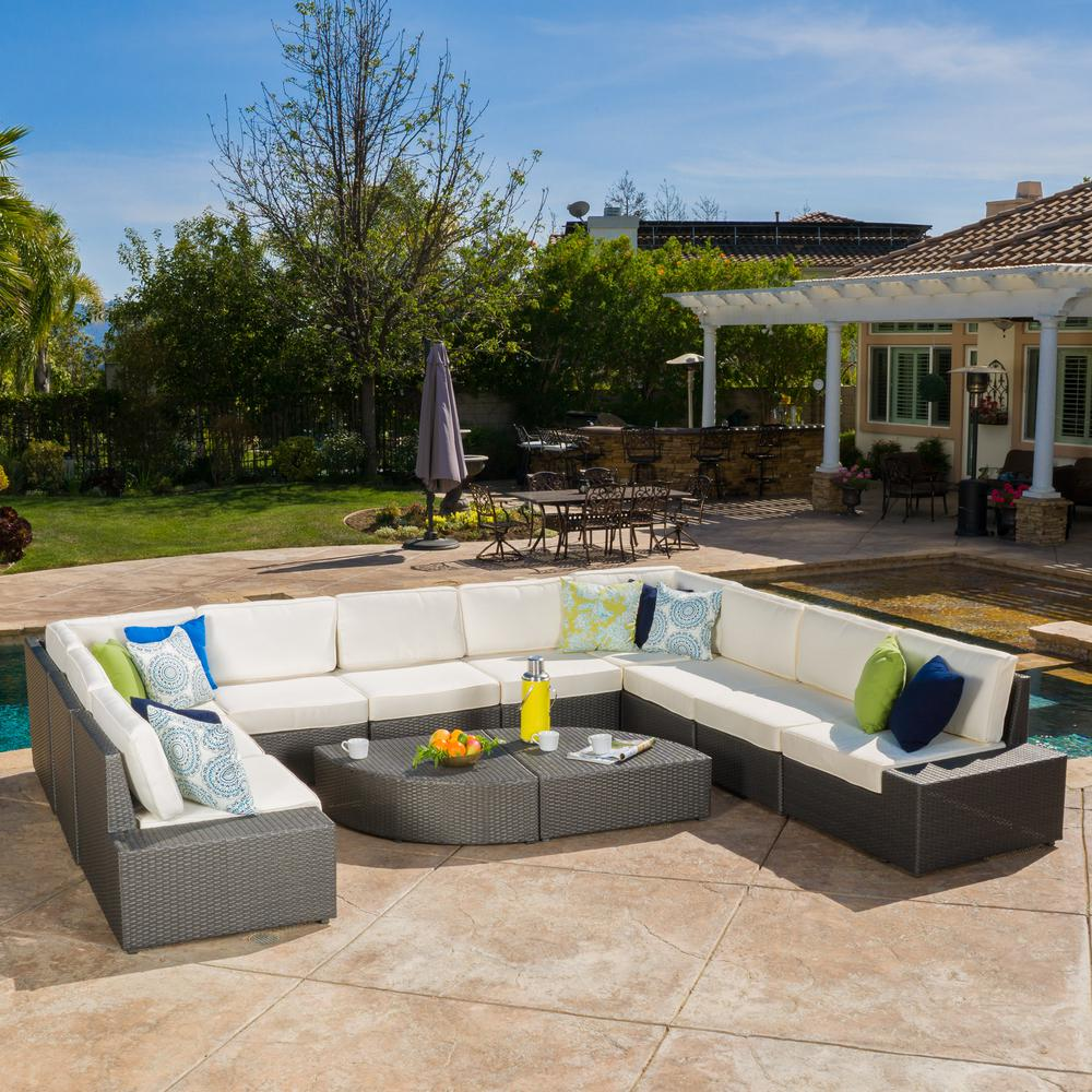 Noble House Santa Cruz Gray 12-Piece Wicker Outdoor Sectional Set with  White Cushions