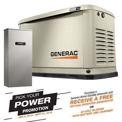 11000-Watt (LP)/10000-Watt (NG) Air-Cooled Standby Generator with Wi-Fi and Whole House 200 Amp Transfer Switch