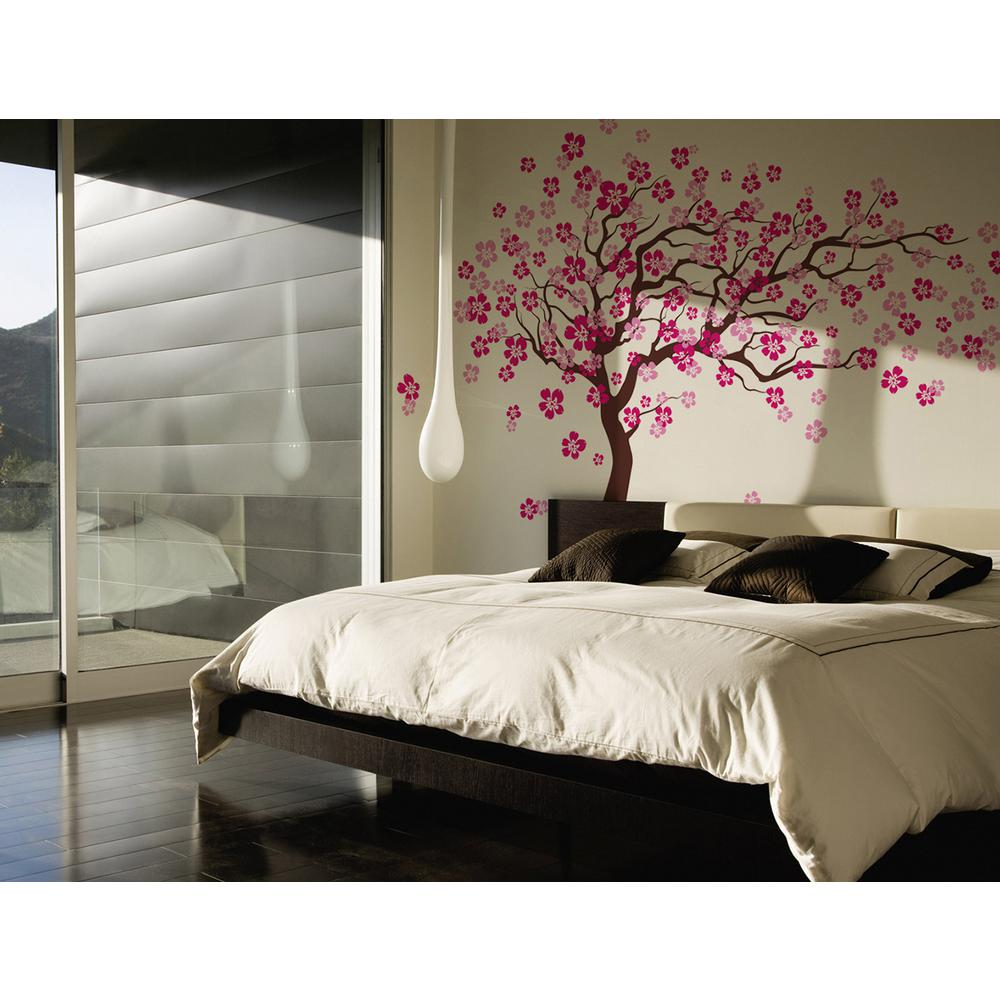 pop decors 144 in x 83 in cherry blossom tree removable wall decal pt 0182 the home depot. Black Bedroom Furniture Sets. Home Design Ideas
