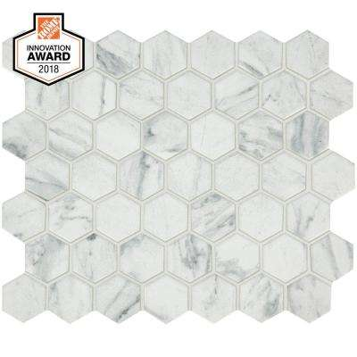 Carrara 10 in. x 12 in. x 6.35mm Ceramic Hexagon Mosaic Floor and Wall Tile (0.81 sq. ft. / piece)