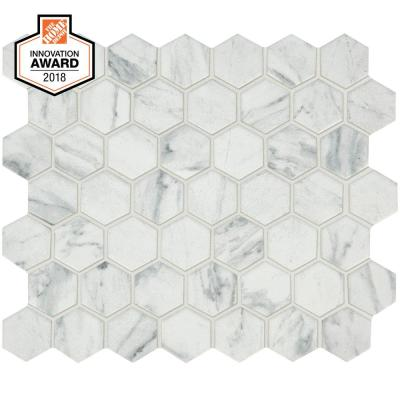 Carrara 10 in. x 12 in. x 6.35mm Ceramic Mosaic Floor and Wall Tile (0.81 sq. ft. / piece)