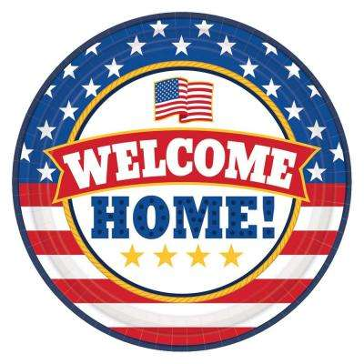 9 in. x 9 in. Welcome Home Round Paper Plate (18-Count, 3-Pack)