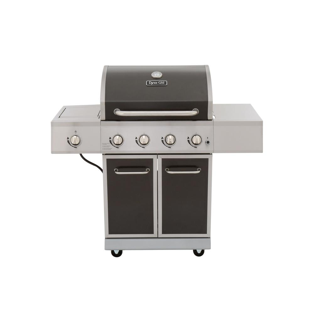 Dyna-Glo 4-Burner Propane Gas Grill in Gray with Stainless Steel Control Panel and Side Burner