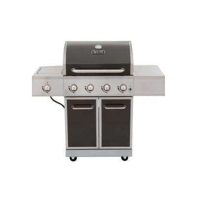 4-Burner Propane Gas Grill in Gray with Stainless Steel Control Panel and Side Burner