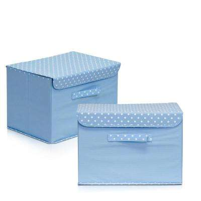 15 in. x 10.6 in. Non-Woven Fabric Blue Storage Bin with Lid (2-Pack)