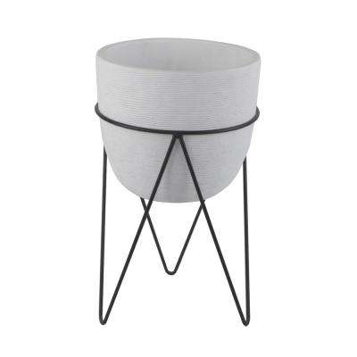 12.5 in. H White Cement Concrete Planter on Metal Stand Mid-Century Planter