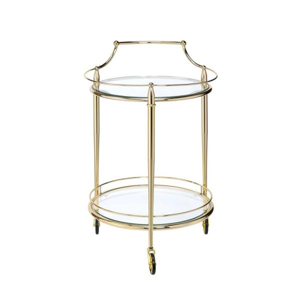 Macha Gold and Clear Glass Serving Cart