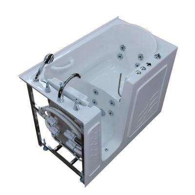 HD Series 53 in. Left Drain Quick Fill Walk-In Whirlpool Bath Tub with Powered Fast Drain in White