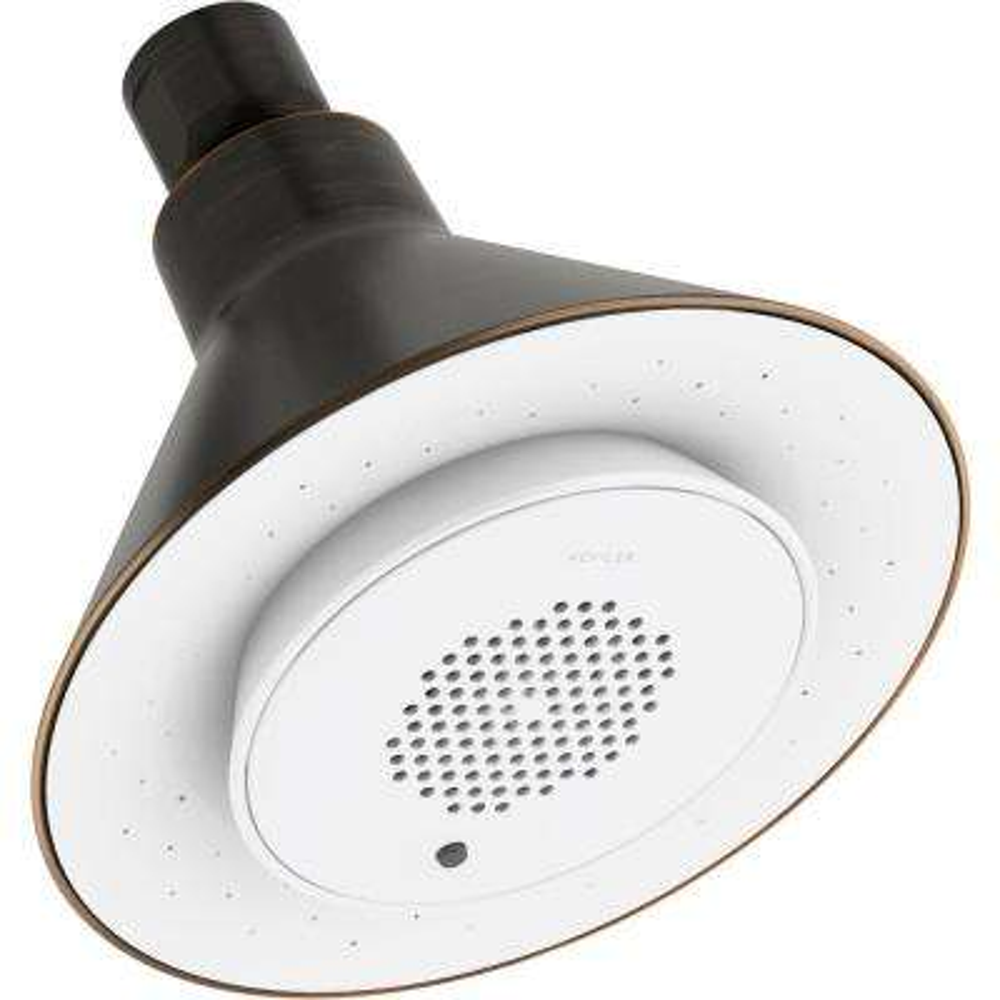 Moxie 1-Spray 5 in. Showerhead with Wireless Speaker in Oil Rubbed Bronze