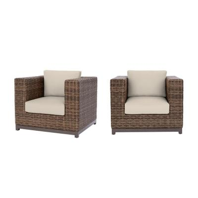 Fernlake Taupe Wicker Outdoor Patio Stationary Lounge Chair with CushionGuard Chalk White Cushions (2-Pack)