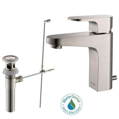 Aragon Single Hole Single-Handle Lead Free Solid Brass Bathroom Faucet in Brushed Nickel with Drain Kit