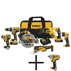 20-Volt MAX Cordless Combo Kit (6-Tool) with (2) 20-Volt 2.0Ah Batteries & Impact Wrench
