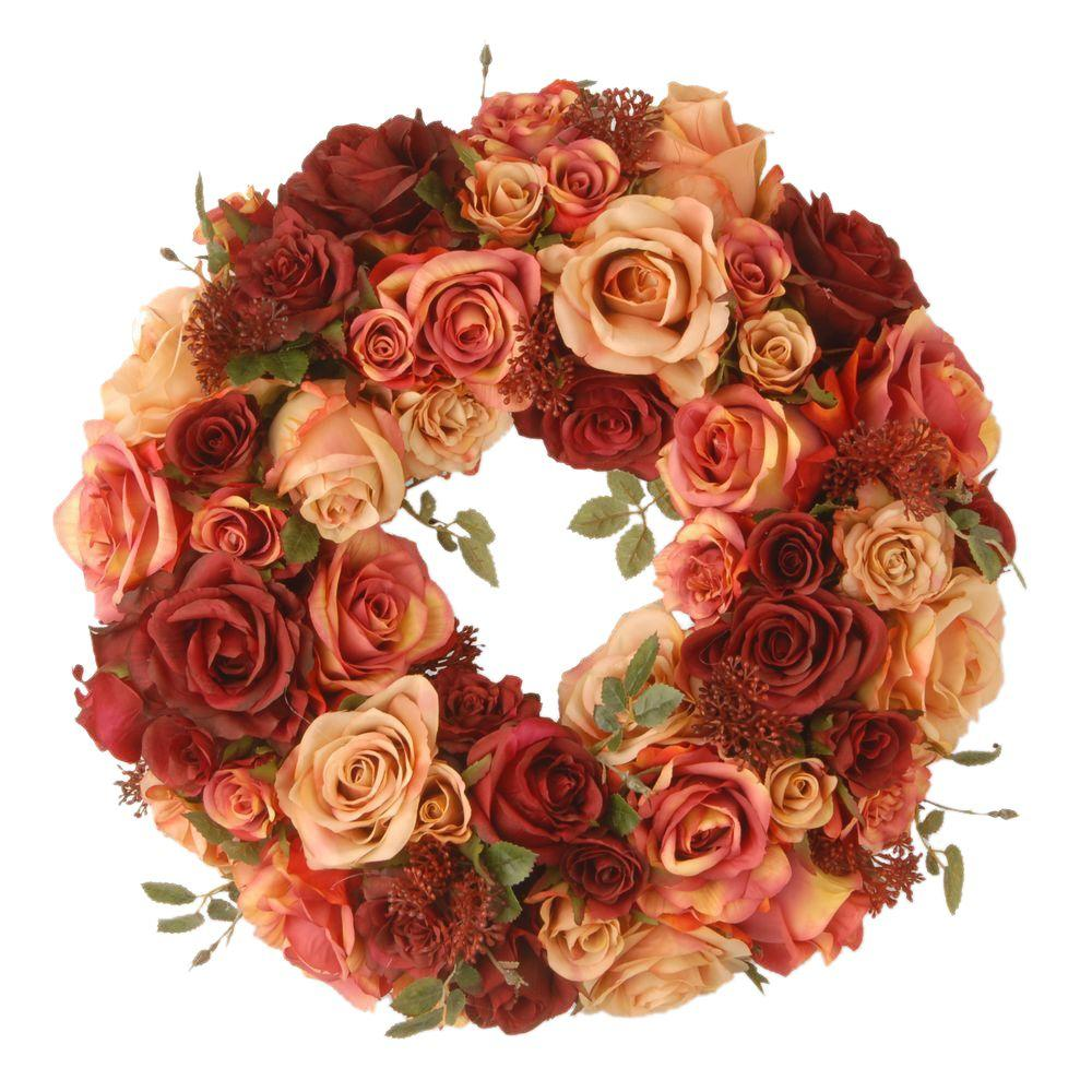 15 in. Decorated Wreath with Mixed Roses and Skimmia in Foam