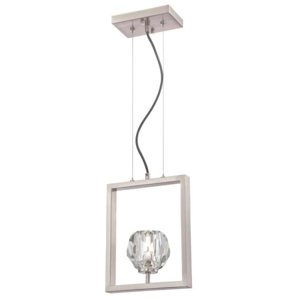 Zoa 1-Light Brushed Nickel LED Pendant with Crystal Glass Shade