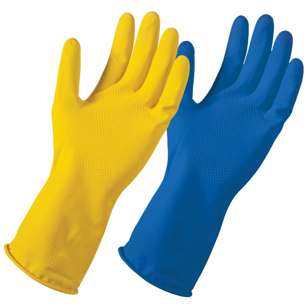 GreaseMonkey Grease Monkey Large/X-Large Yellow/Blue Reusable Latex Cleaning Gloves (2-Pack)