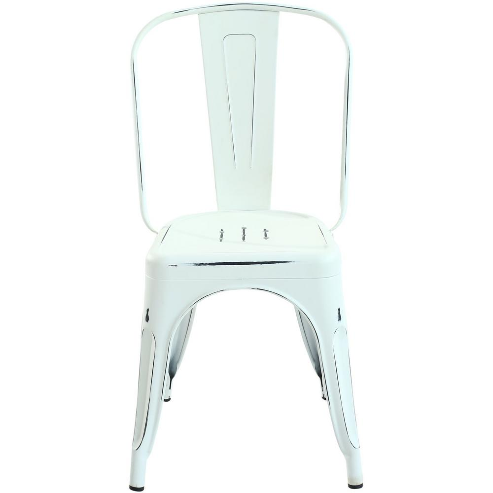 PolyandBark Poly and Bark Trattoria Distressed White Side Chair (Set of 2)