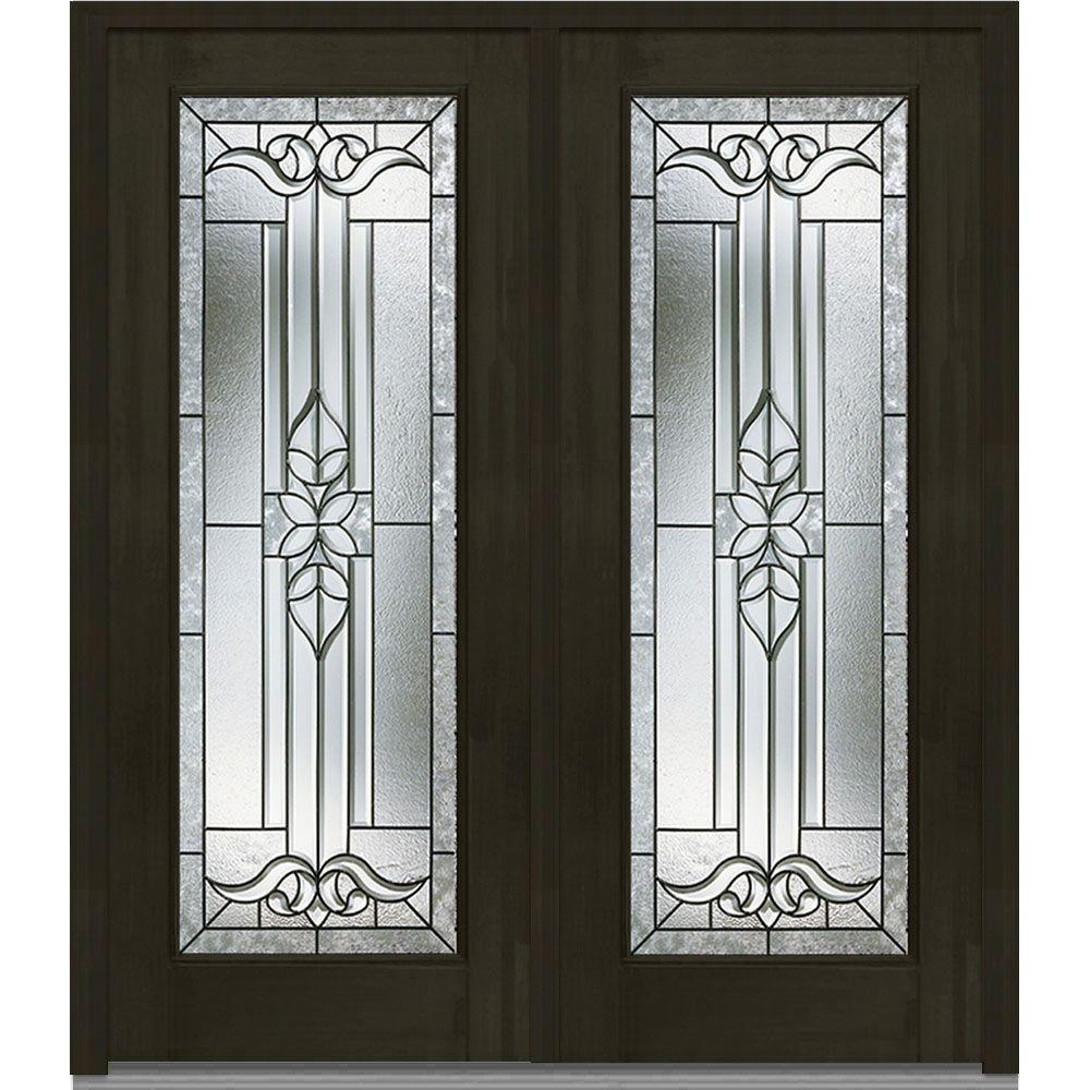 Mmi door 74 in x in cadence decorative glass full for Decorative glass for entry doors