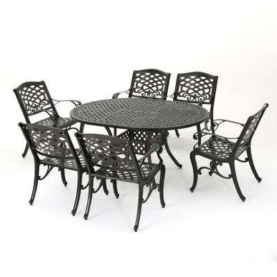 Aadhya 7-Piece Aluminum Outdoor Dining Set with Expandable Dining Table