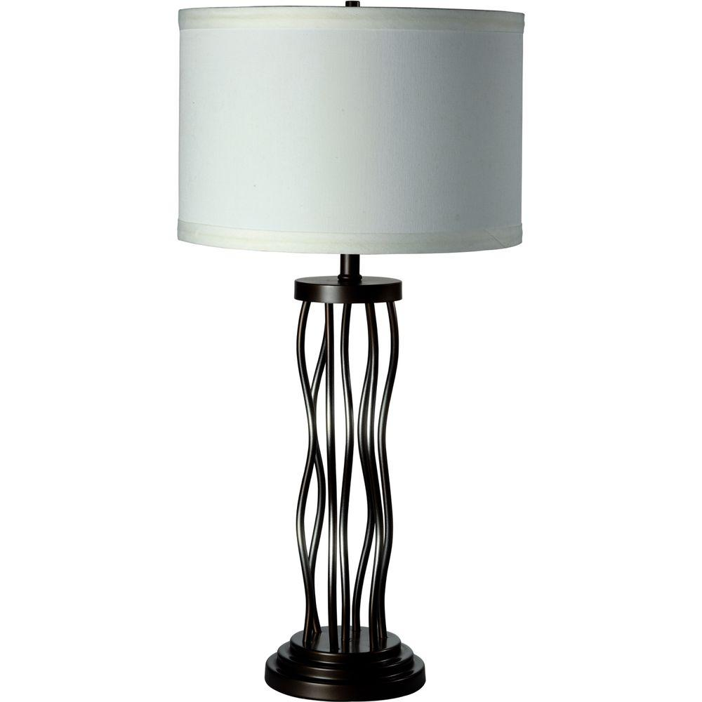 ORE International 25 In. White And Matt Silver Curves Table Lamp 6234A    The Home Depot