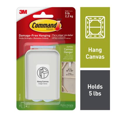 White Jumbo Canvas Picture Hanger (1-Hanger) (4-Adhesive Strips)